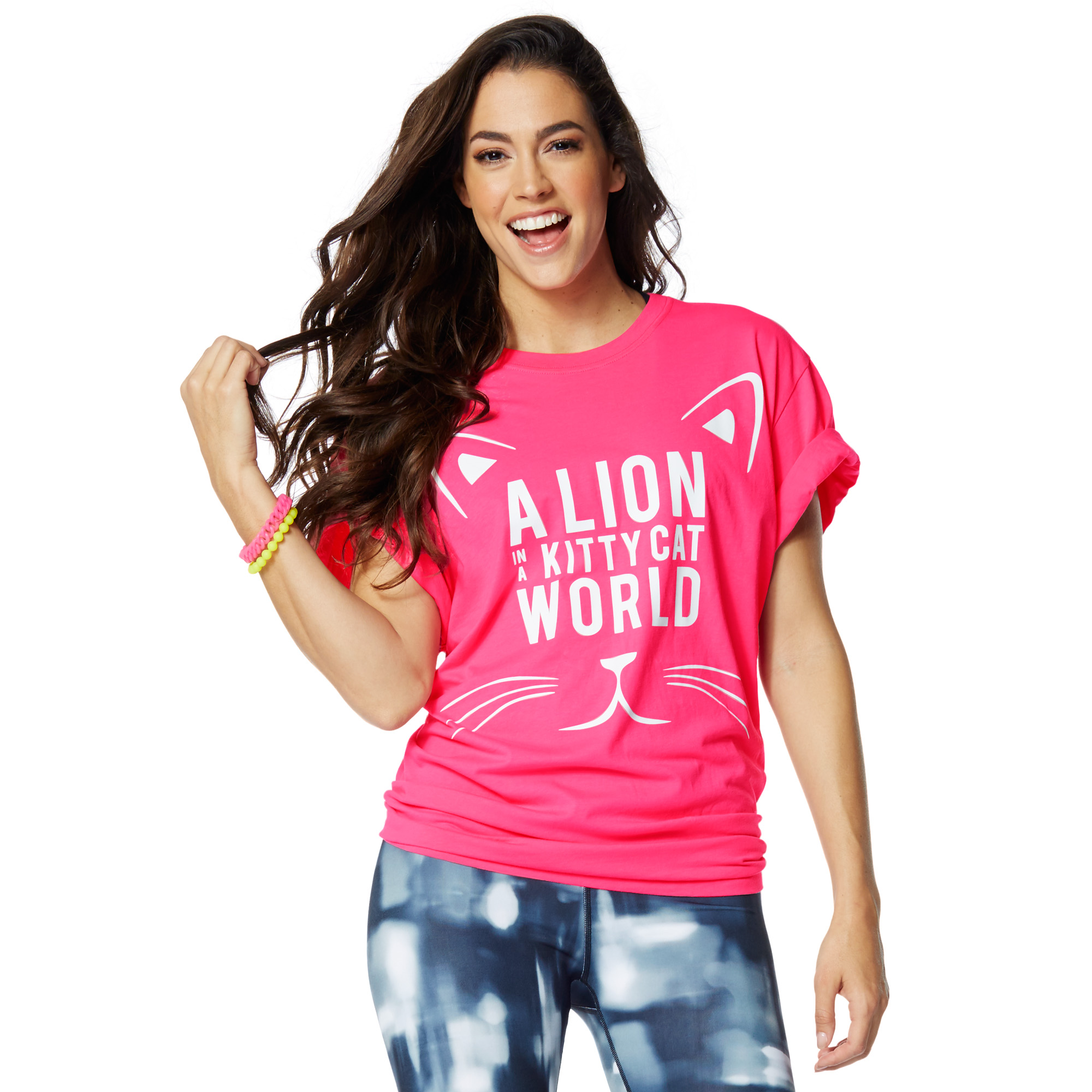 zumba lion in a kitty cat world tee zumba shop seazumba. Black Bedroom Furniture Sets. Home Design Ideas